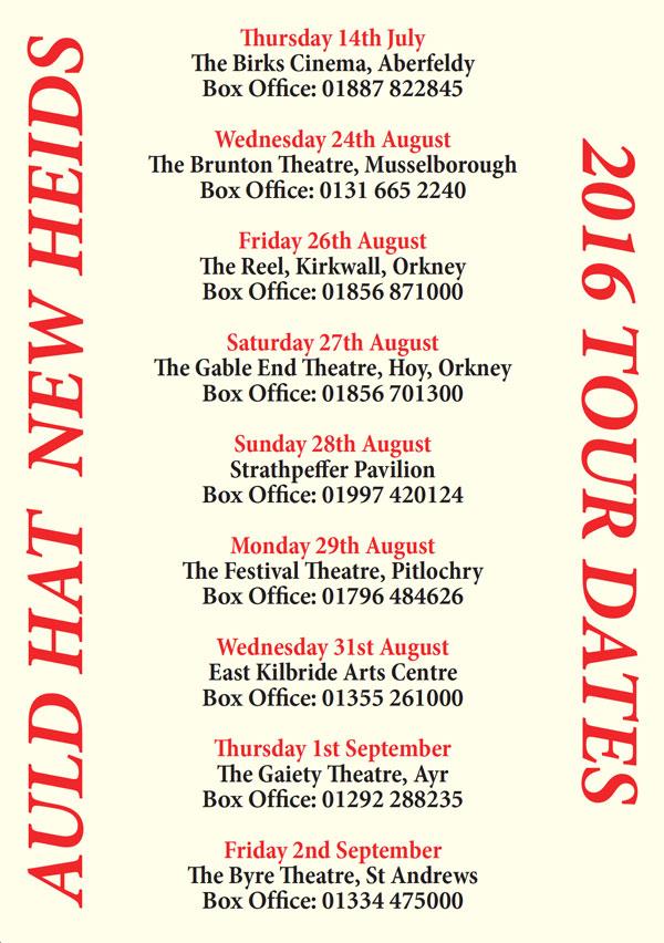 Auld Hat New Heids tour dates